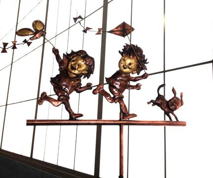 Kids Flying Kite 2 Weathervane