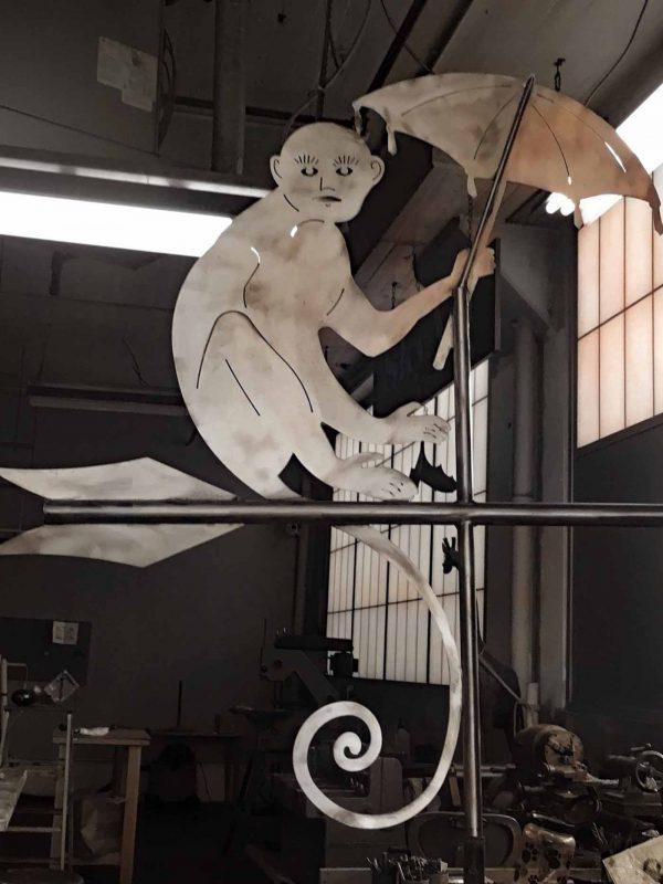 Monkey with Umbrella Weathervane