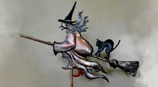 Witch and Black Cat 2 Weathervane